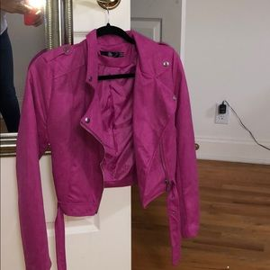 Misguided magenta suede jacket